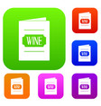 wine list set color collection vector image