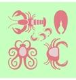 Seafood set in flat design vector image
