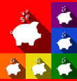 piggy bank sign with the currencies  set vector image