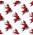 Cartoon red lobsters seamless pattern vector image