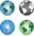 4 variants of globe with aircrafts around it vector image