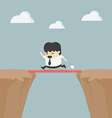 Business Cross the cliff With wonderful wood vector image