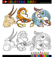 Fantasy animals characters for coloring vector image