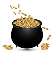 full ceramic pot with gold coins isolated on vector image