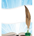 open book and feather vector image