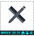 Pencil and ruler icon flat vector image