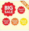 Sale percents tag with stitch style background - vector image