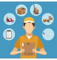 man delivery concept box airplane clipboard vector image