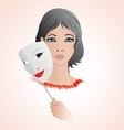 girl holding a mask vector image vector image