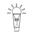 young businessman on hot air balloon in lightbulb vector image