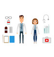character of medicine person man and woman flat vector image