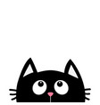 black cat face head silhouette looking up cute vector image