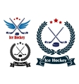 Ice Hockey sports emblems vector image vector image