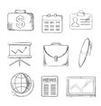 Office and business icons set sketch style vector image