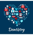 Dentistry banner with icons and symbols vector image