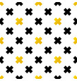 black and gold crosses geometric seamless pattern vector image