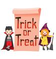 Children in Halloween Costume with Banner vector image