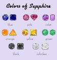colors of sapphire in different cuts vector image