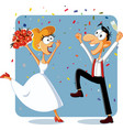 funny bride and groom dancing at their wedding vec vector image