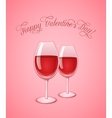 Glasses of wine on pink background vector image