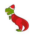 Santa Claus Tyrannosaurus Christmas good dinosaur vector image