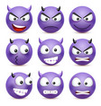 Smileyemoticon set blue face with emotions vector image
