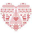 Nordic pattern in heart shape with reindeer tree vector image