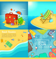 sea rest banner set cartoon style vector image