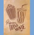 poster soda popcorn craft vector image