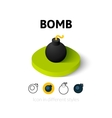 Bomb icon in different style vector image