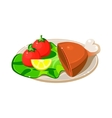 Breakfast Plate with Ham Lettuce and Tomatos vector image