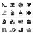 Black Shopping and mall icons vector image