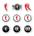 Chili peppers hot and spicy food icons set vector image