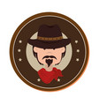 cowboy character wild west icon vector image