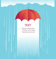 rain clouds with red umbrellaprotects against rain vector image