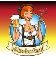 Pretty Bavarian girl with beer and smoking sausage vector image