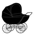 Baby pram black silhouette vector image