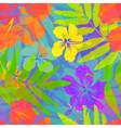 Bright tropical flowers seamless pattern vector image