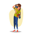 female photographer studio photo taking vector image