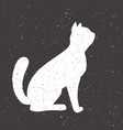 hand drawn whit cat vector image