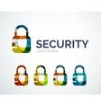 Lock logo design made of color pieces vector image