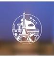 Minimalist round icon of Paris France Flat one vector image