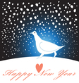 New year greeting card with a white bird vector image