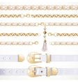 Belt on chain with a tassel white leather belt vector image vector image