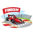 formula racing car reach the finish line vector image