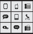 set of 9 editable phone icons includes symbols vector image