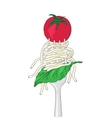 Spaghetti with cherry tomato and Basil leaf on a vector image