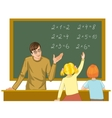 Teacher at blackboard explains children vector image