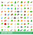 100 zoo icons set isometric 3d style vector image