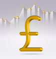 Golden pound sign over chart vector